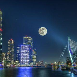 full moon cityscape